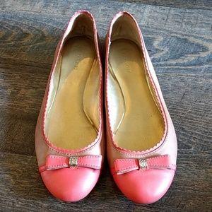 Coach Ballet flats! Orange + Nude w bow! Size 9